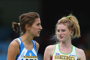Amy Pejkovic (r) of Australia who claimed bronze celebrates with gold medalist Alessia Trost (l) of Italy after the girl's high jump final during day three of the Iaaf World Youth Championships at the Bressanone Sports Complex on July 10, 2009 in Brixone Bressanone, Italy.