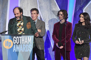 Luca Guadagnino speaks onstage with Peter Spears, Timothée Chalamet and Rachel Weisz during IFP's 27th Annual Gotham Independent Film Awards on November 27, 2017 in New York City.