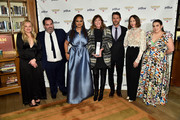 Elisabeth Moss, Berry Welsh, Ava DuVernay, Jane Rosenthal, Jonathan King, Vera Farmiga, and Beanie Feldstein pose with an award backstage during the IFP's 29th Annual Gotham Independent Film Awards at Cipriani Wall Street on December 02, 2019 in New York City.