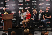 Kevin Smith interviews (L-R) Ben Edlund, Griffin Newman, Scott Speiser, Valorie Curry, Jackie Earle Haley and Peter Serafinowicz from The Tick onstage during IMDb LIVE at NY Comic-Con at Javits Center on October 7, 2017 in New York City.