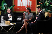 IMDb Founder & CEO Col Needham, Aisha Tyler and Dave Karger speak on stage at IMDb LIVE Presented By M&M'S At The Elton John AIDS Foundation Academy Awards Viewing Party on February 09, 2020 in Los Angeles, California.