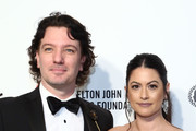 JC Chasez and Jennifer Huyoung walk the red carpet at the Elton John AIDS Foundation Academy Awards Viewing Party on February 09, 2020 in Los Angeles, California.