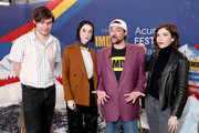 (L-R) Bill Benz, St. Vincent, Carrie Brownstein of 'The Nowhere Inn' and Kevin Smith (C) attend the IMDb Studio at Acura Festival Village on location at the 2020 Sundance Film Festival – Day 3 on January 26, 2020 in Park City, Utah.
