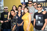 Kevin Smith, Danielle Nicolet, Danielle Panabaker, Candice Patton, Grant Gustin, Jessica Parker Kennedy, Hartley Sawyer, Tom Cavanagh and Carlos Valdes attend the #IMDboat At San Diego Comic-Con 2018: Day Three at The IMDb Yacht on July 21, 2018 in San Diego, California.