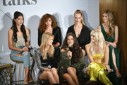 (Top row L-R) Ping Hue, Ashley Moore, Hannah Ferguson, Caroline Lowe, (Bottom row L-R) Nadine Leopold, Shanina Shaik and Devon Windsor on stage at The Talks: Meet the Model Squad during New York Fashion Week: The Shows 2018 at Spring Studios on September 10, 2018 in New York City.