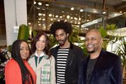 Lindsay Peoples Wagner, Veronica Webb, Sean Michael Frazier, and Lucky Church attend a lunch for the Front Five, Presented by E! at NYFW: The Shows during New York Fashion Week at Spring Studios on February 7, 2019 in New York City.