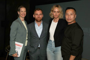 (L-R) Journalist Dana Thomas, Dean of Fashion at Parsons School of Design, Burak Cakmak, IMG Model & Activist, Amber Valetta and Designer Phillip Lim pose before the 'Responsible Revolution' panel in partnership with The Woolmark Company during NYFW: The Shows at Spring Studios on September 06, 2019 in New York City.
