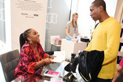 "Editor-in-Chief of Teen Vogue, Lindsay Peoples Wagner signs her new book ""Becoming a Fashion Designer"" at the Visa Retail space during NYFW: The Shows at Spring Studios on September 08, 2019 in New York City."