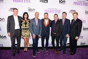 Chairman and Chief Executive Officer of ION Media Brandon Burgess, Actress Cindy Sampson,  Marc Zand Content Ion,  Actor Jason Priestley, Writer Alan McCullough and Alex Jordan arrive at the ION Television Private Eyes Launch Event on February 8, 2018 in New York City.