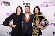 (L-R) Chris Addeo, Executive Vice President, Marketing at ION Media Networks, actor Jason Priestley and actress Cindy Sampson arrive at the ION Television Private Eyes Launch Event on February 8, 2018 in New York City.