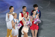 (L to R) Tatiana Volosozhar and Maxim Trankov of Russia, Aliona Savchenko and Robin Szolkowy of Germany and Qing Pang and Jian Tong of China pose for photo session during day three of the ISU Grand Prix of Figure Skating Final 2013/2014 at Marine Messe Fukuoka on December 7, 2013 in Fukuoka, Japan.