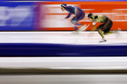 Keiichiro Nagashima of Japan and Mirko Giacomo Nenzi of Italy compete in the 500m Men Division B race during day 1 of the ISU World Cup Speed Skating held at Thialf Ice Arena on February 7, 2015 in Heerenveen, Netherlands.