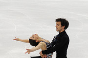 Jessica Dube and Bryce Davison of Canada compete in the Pairs short program during the 2010 ISU World Figure Skating Championships on March 23, 2010 in Turin, Italy.