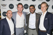 (L-R) IVY Founder Beri Meric, actor Barry Sloane, communications manager at General Motors / Cadillac Eneuri Acosta and IVY founder Philipp Triebel attend the IVY Los Angeles innovator dinner presented by Cadillac and IVY at A.O.C on April 15, 2015 in Los Angeles, California.