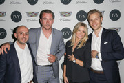 (L-R) IVY Founder Beri Meric, actor Barry Sloane, Shinola West Coast ambassador Megan Reiser, and IVY founder Philipp Triebel attend the IVY Los Angeles innovator dinner presented by Cadillac and IVY at A.O.C on April 15, 2015 in Los Angeles, California.