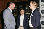 (L-R) Actor Barry Sloane, IVY Founders Beri Meric and Philipp Triebel attend the IVY Los Angeles innovator dinner presented by Cadillac and IVY at A.O.C on April 15, 2015 in Los Angeles, California.
