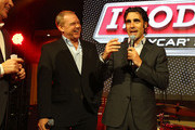 (L-R) IZOD Executive Vice President of Marketing, Mike Kelly, Racing legend Al Unser Jr. and IZOD IndyCar Series Driver Dario Franchitti take part in a celebration for the Indy 500 100th anniversary at an IZOD party at The Colony on April 13, 2011 in Los Angeles. The Indy 500 will take place on May 29, 2011 at the Indianapolis Motor Speedway.