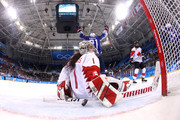 Shannon Szabados #1 of Canada reacts after a first period goal by Hilary Knight #21 of the United States during the Women's Gold Medal Game on day thirteen of the PyeongChang 2018 Winter Olympic Games at Gangneung Hockey Centre on February 22, 2018 in Gangneung, South Korea.