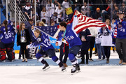 Gold medal winners Kendall Coyne #26 and Hilary Knight #21 of the United States celebrate after defeating Canada in a shootout in the Women's Gold Medal Game on day thirteen of the PyeongChang 2018 Winter Olympic Games at Gangneung Hockey Centre on February 22, 2018 in Gangneung, South Korea.