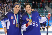 Gold medal winners Meghan Duggan #10 and Hilary Knight #21 of the United States celebrate after defeating Canada in a shootout in the Women's Gold Medal Game on day thirteen of the PyeongChang 2018 Winter Olympic Games at Gangneung Hockey Centre on February 22, 2018 in Gangneung, South Korea.