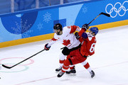 Lukas Radil #69 of the Czech Republic collides with Marc-Andre Gragnani #18 of Canada in the first period during the Men's Bronze Medal Game on day fifteen of the PyeongChang 2018 Winter Olympic Games at Gangneung Hockey Centre on February 24, 2018 in Gangneung, South Korea.