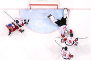 Kevin Poulin #31 of Canada makes a save in the second period against Czech Republic during the Men's Bronze Medal Game on day fifteen of the PyeongChang 2018 Winter Olympic Games at Gangneung Hockey Centre on February 24, 2018 in Gangneung, South Korea.