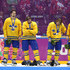 Niklas Kronwall Jonathan Ericsson Photos - Silver medalists Jonas Gustavsson #50, Jonathan Ericsson #52, Niklas Kronwall #55, Carl Hagelin #62 and Erik Karlsson #65 of Sweden react during the medal ceremony after losing to Canada 3-0 during the Men's Ice Hockey Gold Medal match on Day 16 of the 2014 Sochi Winter Olympics at Bolshoy Ice Dome on February 23, 2014 in Sochi, Russia. - Ice Hockey - Winter Olympics Day 16