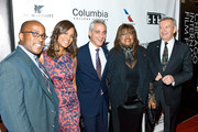 Daniel Jackson, Sonia Evans, Chicago Mayor Rahm Emanuel, Chaz Ebert, and Festival Founder Michael Kutza attend 'The Immigrant' opening night premiere and tribute to Roger Ebert at Chicago Theatre on October 10, 2013 in Chicago, Illinois.