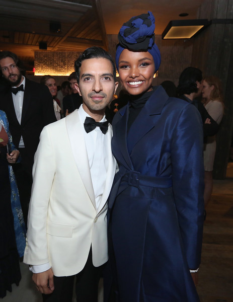 The Business Of Fashion Celebrates The #BoF500 2018 - Red Carpet Arrivals [suit,fashion,event,formal wear,fashion design,headgear,haute couture,smile,dress,tuxedo,halima aden,imran ahmed,bof500,hotel brooklyn bridge,brooklyn city,business of fashion celebrates,red carpet arrivals,gala dinner,new york fashion week]