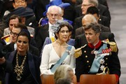 Sjeikha Moza bint Nasser al Misned of Qatar (L), Princess Mary of Denmark and Prince Frederik of Denmark (R) attend the inauguration of HM King Willem Alexander of the Netherlands and HRH Princess Beatrix of the Netherlands at New Church on April 30, 2013 in Amsterdam, Netherlands.