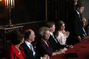 Prince Willem-Alexander of the Netherlands (4th-L) sits alongside his wife Princess Maxima of the Netherlands (5th-L) during the abdication ceremony of his mother Queen Beatrix of the Netherlands (L) in the Moseszaal at the Royal Palace on April 30, 2013 in Amsterdam. Queen Beatrix of the Netherlands (3rd-L) is abdicating the throne after a 33 year reign and hands the throne to her son Prince Willem-Alexander who will be sworn in later at the Nieuwe Kerk ahead of a joint session of parliament.