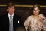 Prince Willem-Alexander of the Netherlands sits alongside his wife Princess Maxima of the Netherlands during the abdication ceremony of his mother Queen Beatrix of the Netherlands in the Moseszaal at the Royal Palace on April 30, 2013 in Amsterdam. Queen Beatrix of the Netherlands is abdicating the throne after a 33 year reign and hands the throne to her son Prince Willem-Alexander who will be sworn in later at the Nieuwe Kerk ahead of a joint session of parliament.