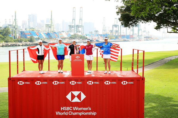 HSBC Women's Champions - Previews [hsbc womens champions - previews,podium,stage equipment,flag,competition event,technology,competition,event,advertising,recreation,championship,tiffany chan,so yeon ryu,shanshan feng,l-r,south korea,hong kong,inbee park,china,united states]