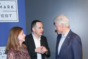 """(L-R) Dalia Rabin, Ron Leshem and Bill Clinton attend a special screening of """"Incitement"""" at The Landmark at 57 West on February 01, 2020 in New York City."""