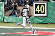 Cornerback Morris Claiborne #21 of the New York Jets scores a touchdown against the Indianapolis Colts in the first quarter at MetLife Stadium on October 14, 2018 in East Rutherford, New Jersey.