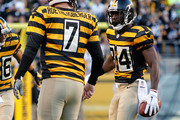 Antonio Brown #84 of the Pittsburgh Steelers celebrates his touchdown with Ben Roethlisberger #7 during the second quarter against the Indianapolis Colts at Heinz Field on October 26, 2014 in Pittsburgh, Pennsylvania.