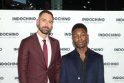 Celebrity stylist and host, Warren Alfie Baker and actor Niles Fitch attends the Indochino Red Carpet launch party on November 06, 2019 in West Hollywood, California.