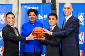 Indra Nooyi PepsiCo And NBA Announce Landmark Marketing Partnership