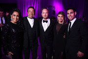 (L-R) Frances Robinson, recording artist Smokey Robinson, actor Aaron Paul, Lauren Parsekian, and manager Eric Podwall attend the 23rd Annual Elton John AIDS Foundation Academy Awards Viewing Party on February 22, 2015 in Los Angeles, California.
