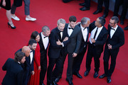 "(L-R) Franck Gastambide, Guillaume Gouix,Virginie Ledoyen, Eric Hannezo, Lambert Wilson and François Arnaud attend the Premiere of ""Inside Out"" during the 68th annual Cannes Film Festival on May 18, 2015 in Cannes, France."