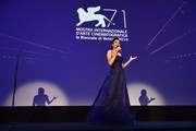 Festival hostess and actress Luisa Ranieri appears on stage during the opening ceremony at the 71st Venice Film Festival on August 27, 2014 in Venice, Italy.