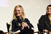 "Amy Poehler (L) and Leslye Headland attend the Inside The Writer's Room of Netflix's ""Russian Doll"" panel event at the Writers Guild Theater on June 05, 2019 in Beverly Hills, California."