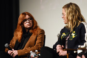 "Natasha Lyonne (L) and Amy Poehler attend the Inside The Writer's Room of Netflix's ""Russian Doll"" panel event at the Writers Guild Theater on June 05, 2019 in Beverly Hills, California."