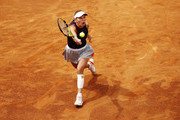 Caroline Wozniacki of Denmark hits a forehand during her first round match against Danielle Collins of the USA during day three of the International BNL d'Italia at Foro Italico on May 14, 2019 in Rome, Italy.