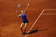 Danielle Collins of the USA serves during her first round match against Caroline Wozniacki of Denmark during day three of the International BNL d'Italia at Foro Italico on May 14, 2019 in Rome, Italy.