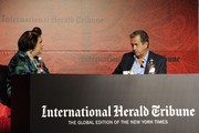 Suzy Menkes in conversation with Mario Testino at the International Herald Tribune's Luxury Business Conference at Hotel Unique on November 10, 2011 in Sao Paulo, Brazil.