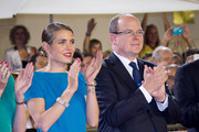 Prince Albert II of Monaco and Charlotte Casiraghi give the prizes for the Longines Grand Prix du Prince during the International Monte-Carlo Jumping at Port Hercule on June 28, 2014 in Monaco, Monaco.