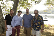 (L-R) Chefs Nils Noren, David Arnold, Zach Allen, and Cesare Casella attend International Pig Roast Hosted by Dorothy Cann Hamilton on September 25, 2010 in New York City.