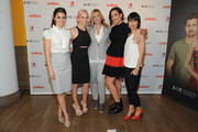 (L-R) Shiri Appleby, Marti Noxon, Nina Lederman, Sarah Gertrude Shapiro and Constance Zimmer attend the international press event for UnREAL on April 29, 2015 in New York City.
