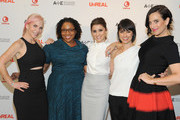 (L-R) Marti Noxon, Elizabeth Jackson, Shiri Appleby, Constance Zimmer and Sarah Gertrude Shapiro attend the international press event for UnREAL on April 29, 2015 in New York City.